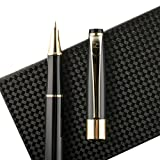 Fountain Pen Set Fine Nib with Ink Refill Converter and Elegant Case - Showtime Black Limited Edition - Best Signature Calligraphy Fountain Pens for Writing Ink Cartridges on Sale Luxury Executive Business Gift Set
