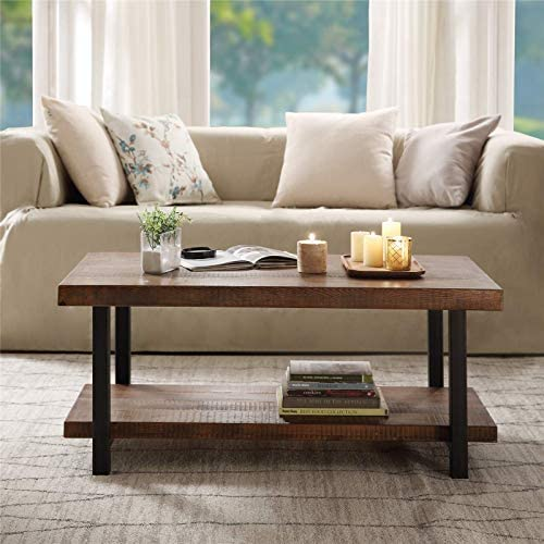 Coffee Table, Coffee Tables for Living Room,Idustrial Solid Wood Coffee Table with Metal Frame and Open Storage Shelf