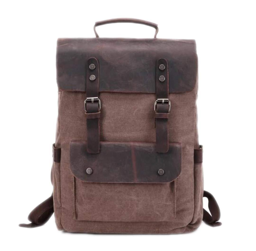 3ceac1e3e28 Amazon.com: Vintage Canvas Leather Backpacks For Men 14
