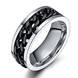FEDONA Personality Titanium Steel Black Rotatable Chain Men Ring for Fathers Day US Size 6-15