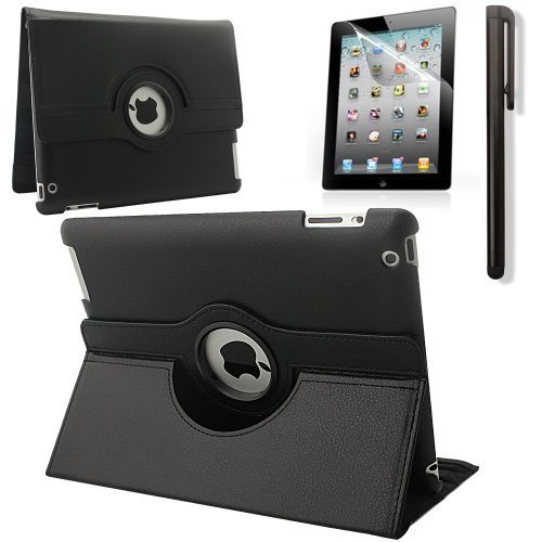 RUBAN 360 Degree Rotating Automatic Wake/Sleep Stand Case with Screen Protector for Apple iPad 2 / iPad 3 / iPad 4 - Black