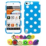 "Apple iPod Touch 5 (5th Generation) ""Polka Party"" Baby Blue Hard Case + 1 Fruity Dust Plug [Cellular Connection Packaging]"