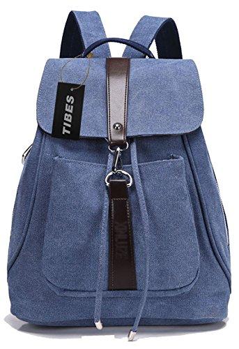 Tibes Mochila de lona para mujeres/niñas mochila mujer mochilas Azul