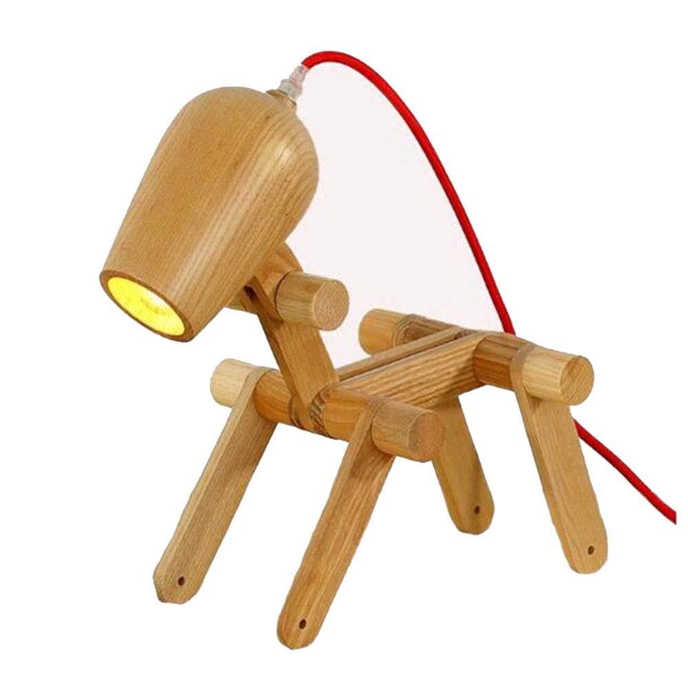 現代の木製テーブルランプ折りたたみベッドサイドクリエイティブパピーモデリング回転子供の寝室スタディルーム黄色光源インタフェースランプ(光源なし) B07S9TXH44