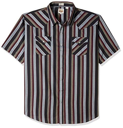 Ely & Walker Men's Short Sleeve Stripe Western Shirt-Big, Burgundy, 4X (Stripe Western Tall Shirt)