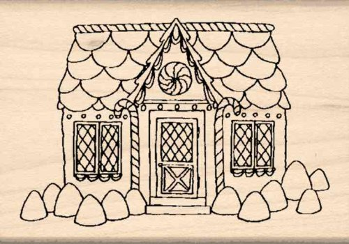 Gingerbread Candy House Rubber Stamp – 1-3/4 inches x 2-1...