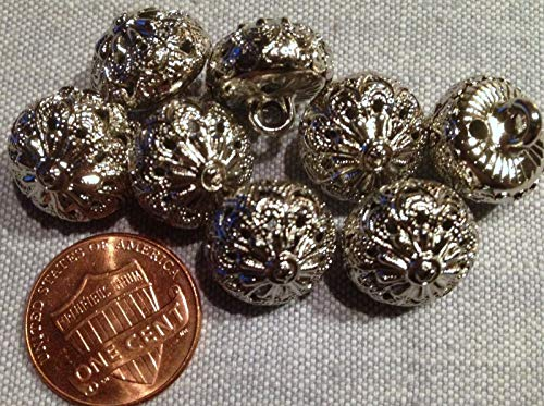 (8 Hollow Domed Shiny Silver Tone Metal Twinkle Buttons Almost 9/16