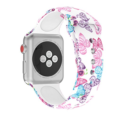 Wenicaca Bracelet for Apple Watch 38mm/42mm iWatch Replacement Wrist Band Pattern Printed Leather (Butterfly, 42mm) ()