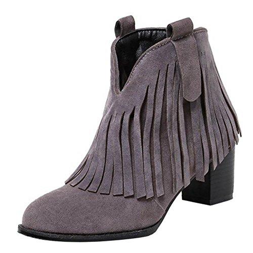 VulusValas Women Block Heel Boots Grey-5cm