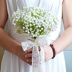 USIX Handmade Cute Baby's Breath Bridesmaid Bouquet, Mini Flower Girl Holding Bouquet, Wedding Flower Arrangements Bridesmaid Bouquet 25