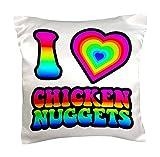 OneMtoss Decorative Silk Pillow Cover 1 Groovy Hippie Rainbow I Heart Love Chicken