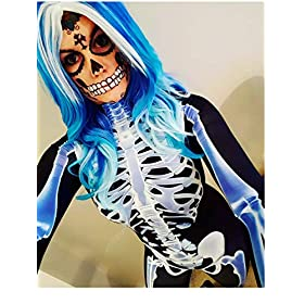 Fixmatti Women Halloween Costume Skeleton Print Bodycon Catsuit Jumpsuit