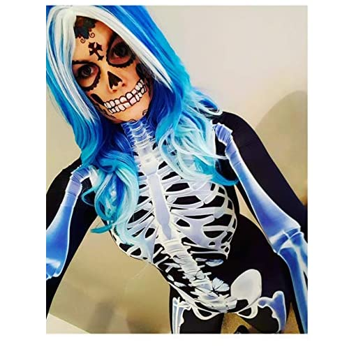 Fixmatti Women Halloween Costume Skeleton Print Bodycon Catsuit Jumpsuit