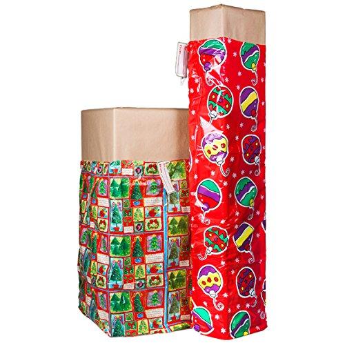 2 XL Christmas Holiday Gift Bags For Big Presents Set Tags Santa Christmas