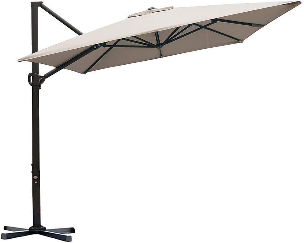 Abba Patio 8 x 10ft Offset Patio Umbrella Rectangular Cantilever Outdoor Hanging Umbrella with Crank & Easy Tilt & Cross Base for Garden, Deck, Backyard, Pool, Sand