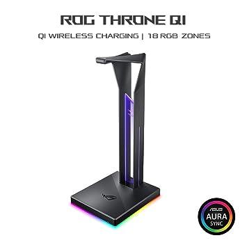 ASUS ROG Throne Qi - Soporte para Auriculares con Carga inalambrica, Sonido Envolvente 7.1, Dos Puertos USB 3.1 y Aura Sync
