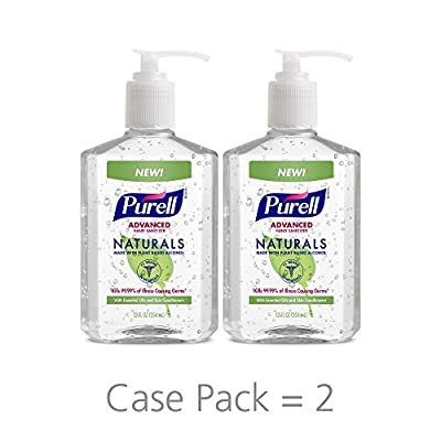 Purell Naturals Advanced Hand Sanitizer Gel, with Skin Conditioners and Essential Oils, 12 fl oz Counter Top Pump Bottle (Pack of 2) - 9629-06-EC