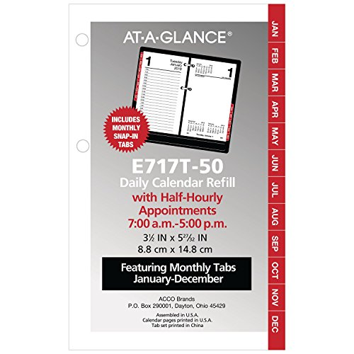at-A-Glance Daily Desk Calendar Refill with Monthly Tabs, January 2019 - December 2019, 3-1/2