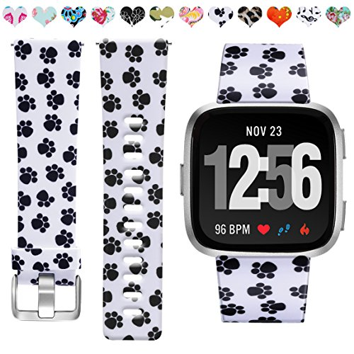 Maledan Compatible with Fitbit Versa Bands, Paw Print, Large