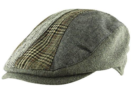 Men's Flat Cap Hat Herringbone Tweed Country Check Wool Mix Adjustable Newsboy (Fully Lined Tweed Cap)