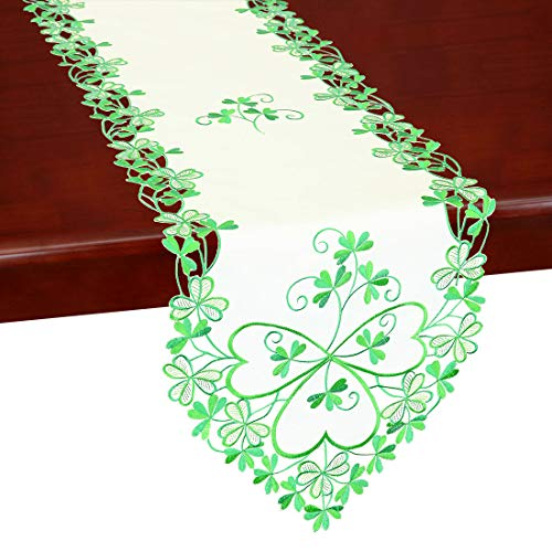 Shamrock Table Runner - Simhomsen Irish Clover Table Runners, Embroidered Shamrock Table Linen for St. Patrick's Day and Spring 13 × 72 Inch