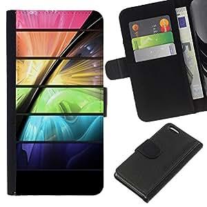 KLONGSHOP // Tirón de la caja Cartera de cuero con ranuras para tarjetas - Espacio de color vibrante futurista - Apple Iphone 5C //