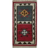 "Herat Oriental Indo Hand Woven Tribal Vegetable Dye Kilim Wool Rug, 1'8"" x 3'3"", Red/Ivory"