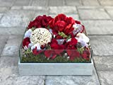Red Hydrangea and Peony Centerpiece with Lights - Festive Addition For the Holiday