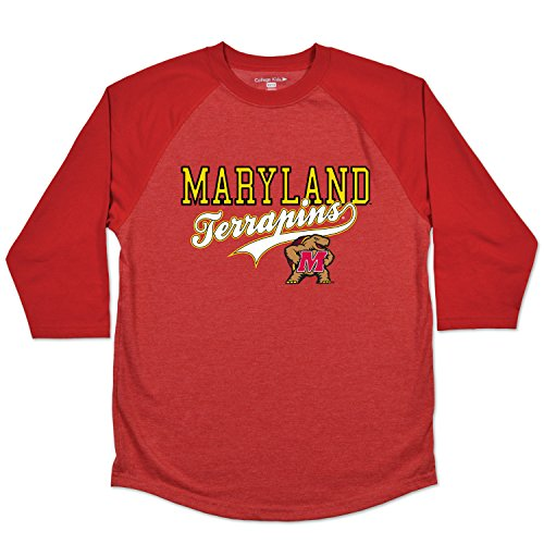 College Kids NCAA Maryland Terrapins Youth Home Run Raglan Tee, 7/X-Small, Red