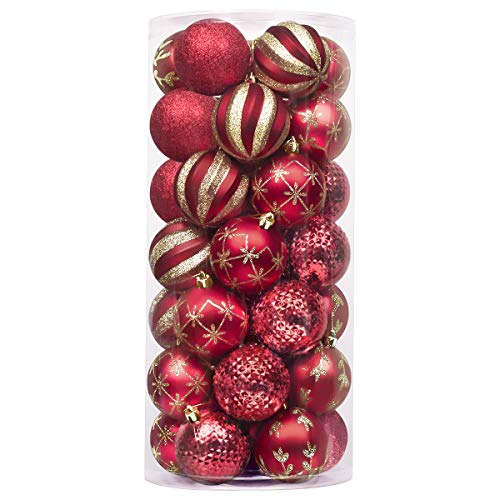 Valery Madelyn 35ct 70mm Luxury Red Gold Shatterproof Christmas Ball Ornaments Decoration,Themed with Tree Skirt(Not Included)