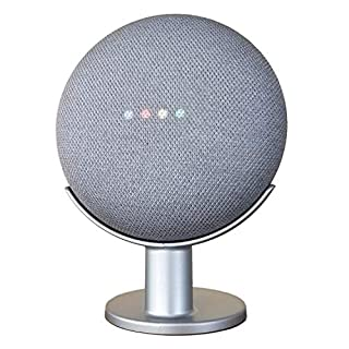 Mount Genie Pedestal for Nest Mini (2nd Gen) and Google Home Mini (1st Gen)   Improves Sound and Appearance   Cleanest Mount Holder Stand for Mini (Silver)