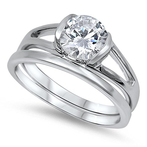 1Ct Half Bezel Round Solitaire Engagement Wedding Set .925 Sterling Silver Ring Size (Half Bezel Set)