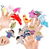 RIY 16pcs Finger Puppets Toddlers Family & Sea Animals Soft Baby Plush Toy