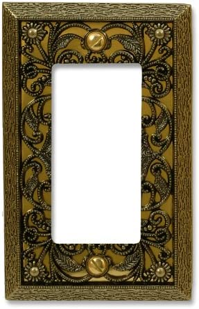 Amerelle Filigree Single Rocker Cast Metal Wallplate In Antique Brass Switch And Outlet Plates