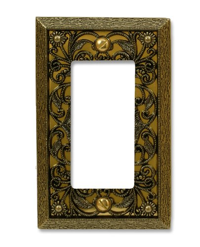 Amerelle Filigree Single Rocker Cast Metal Wallplate in Antique Brass