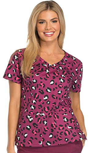 Everyday Scrubs Signature By Dickies Women's V-Neck Animal Print Scrub Top X-Large Print (Scrubs Dickies Top)