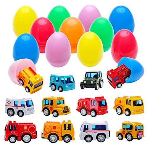 (Fun Party Favors Surprise Egg Toys with 12 Metal Trucks and Cars | Pull-Back Vehicles Assortment Surprise in 3.2