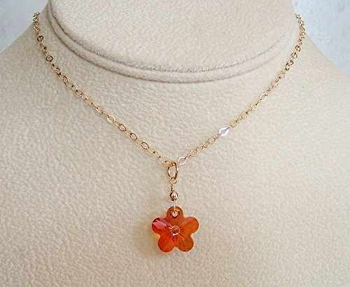 Element Earth Costume (Copper Crystal Flower Swarovski Elements Jewelry Pendant 18