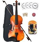 Crescent 1/4 Size Student Violin Starter Kit, Natural Wood (Includes CrescentTM Digital E-Tuner)