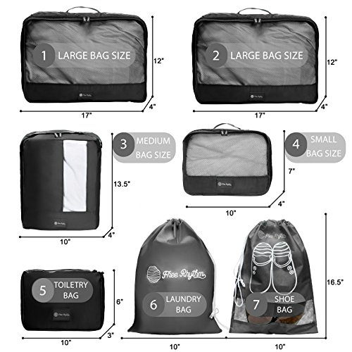 Packing Cubes Travel Set 7 Pc Luggage Carry-On Organizers Toiletry & Laundry Bag by Free Rhythm (Image #6)