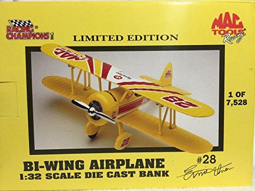 Racing Champions #28 Ernie Irvin Mac Tools Bi-Wing Airplane Bank 1:32 (Ernie Banks Figurine)
