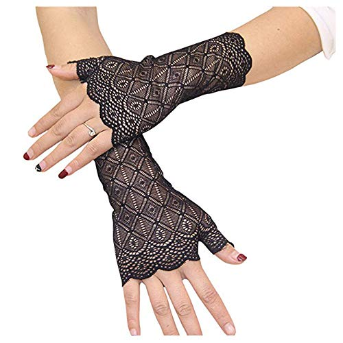 VITORIA'S GIFT The Bride Marriage Dress Gathered Rhinestone Lace Sequins Satin Bridal Party Gloves Driving Wedding Gloves (Lace-Black)