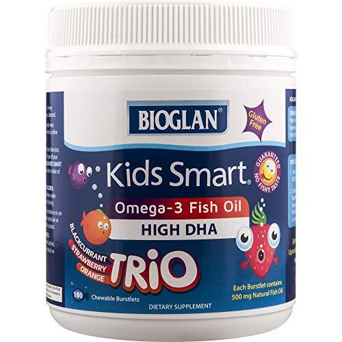 Smart Omega 3 - Bioglan Kid's Smart Trios Omega 3 Fish Oil Chewable Burstlets, 180 Count