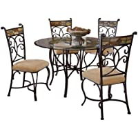 Hillsdale Pompei Slate and Glass 5-Piece Dining Set with Side Chairs