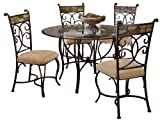 Cheap Hillsdale Pompei Slate and Glass 5-Piece Dining Set with Side Chairs
