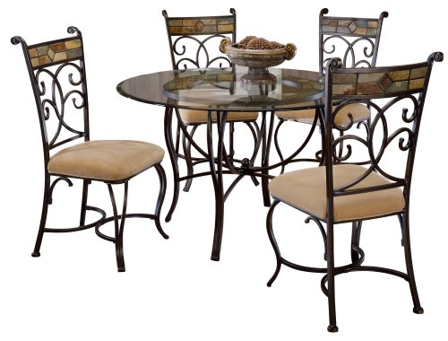Hillsdale Pompei Slate and Glass 5-Piece Dining Set with Side Chairs (Large Set Dining Round)