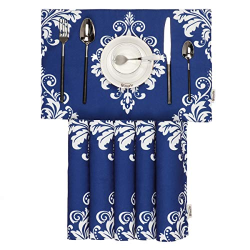 BRAWARM Placemats for Dining Table Vintage Damask Floral Farmhouse Table Mats Solid Printed Handmade Place Mats for Kitchen Table 12 X 18 Inches Navy Blue Set of 6