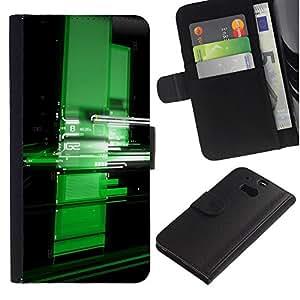 Ihec-Tech / Flip PU Cuero Cover Case para HTC One M8 - Digital green