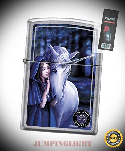 7692 Anne Stokes-Unicorn with Woman Street Chrome Lighter with Flint Pack - Premium Lighter Fluid (Comes Unfilled) - Made in USA! ()