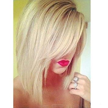 wig Bobo Head Peluca de Pelo Corto y Corto Golden Gradient 46 Puntos Peluca de Alta